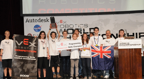 Free range Robotics receiving their world title for programming. From left to right - Richard Paul, Kane Ross, Michael Lawton, Isaac Harrold, Ethan Harrold, Mark Lawton, Rhiannon Waller, Terry Allen, Patrick Walmsley, John Waller, Max Waller